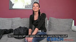 Czech MILF gets down and sticky with sexy with black haired beauty