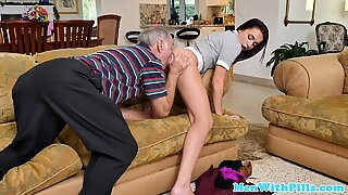Real newbie gets a mouthful of oldman spunk