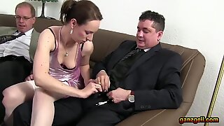 Dinner party turns into mature German hook-up