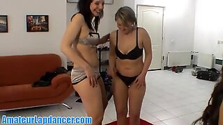 Striptease and lapdance by three horny chicks