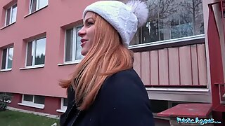 Public Agent Russian redhead takes cash for romp