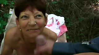Busty granny playing with her boyfriends huge dick in POV