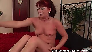 Red steaming grandma With puny Tits Rides Cock
