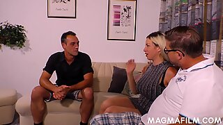 German big tits blonde fucked by two men