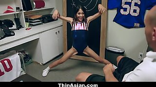 Asian Gymnast Stretched Out By Big White Dick