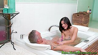 Dick tugging babe gets jizzed