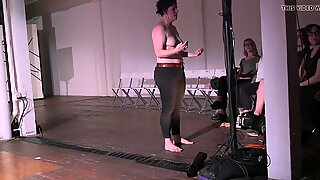 Meg Foley asks the audience to expose her fatty tits
