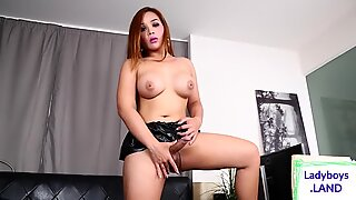 Sexy busty asian tgirl pulling herself off