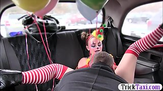 Cute girl in costume likes drivers cock in her pussy