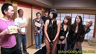 Japanese leather ladies jerking and pissing