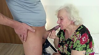 GERMAN ORDERLY CAUGHT GRANNY MASTURBATE AND HELP WITH FUCK