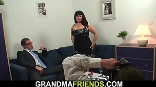 Huge boobs mommy takes two big cocks at once