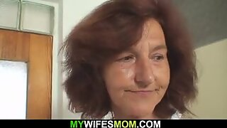 dirty old mother-in-law ready to ride his big cock