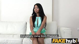 Fake Agent Thai girl in Europe fucked at a porn casting