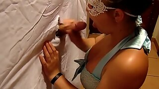 Sexy Teen Sucks Cock From Glory Hole While Boyfriends in the Other Room