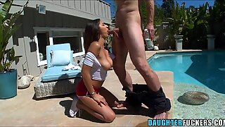 Naughty teen wants to get filled up by the poolboy