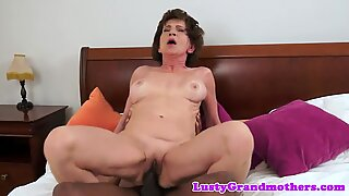 Hairy granny fucked deeply by big cock